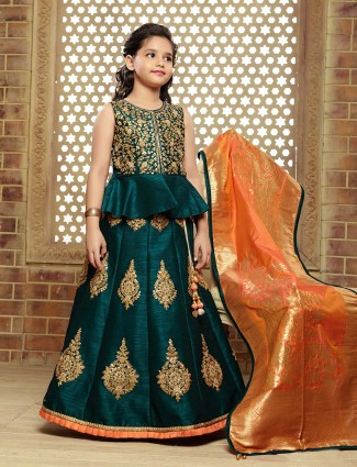 Party function bottle green raw silk lehenga choli