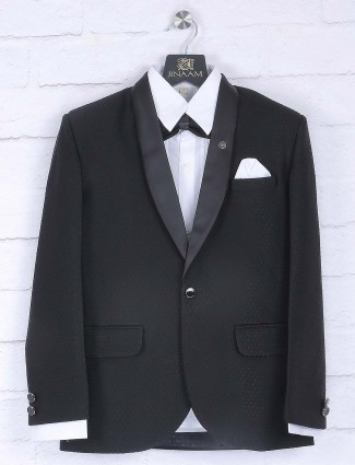 Party function for black hue tuxedo suit