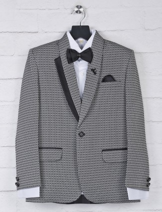 Party function grey thread weaving tuxedo suit