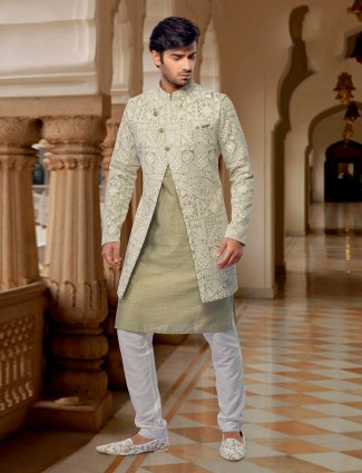Party function olive waistcoat set in cotton silk