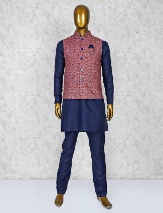 Party occasion maroon and navy hue waistcoat set