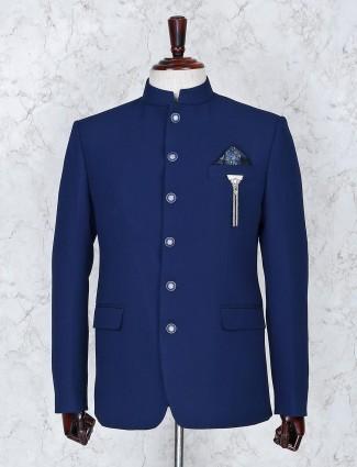 Party royal blue solid terry rayon jodhpuri blazer