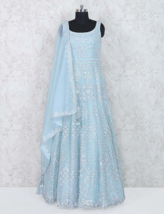 Party wear aqua hued silk fabric anarkali suit