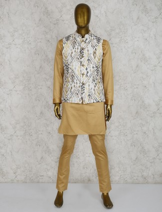Party wear beige and white hue waistcoat set