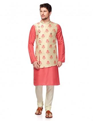 Party wear bright pink waistcoat set