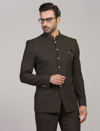 Party wear brown terry rayon jodhpuri blazer