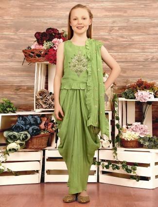 Party wear cotton silk light green dhoti suit