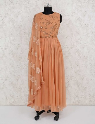 Party wear georgette peach salwar suit