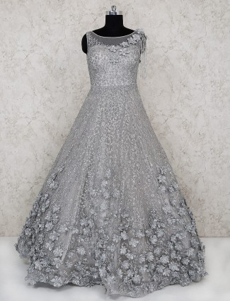 Party wear grey color net gown