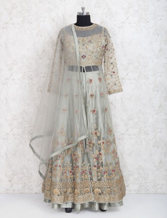 Party wear grey hue raw silk lehenga choli