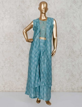Party wear light blue cotton silk sharara suit