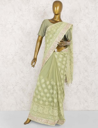Party wear lucknowi work georgette saree