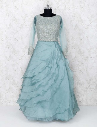Party wear mint green gown
