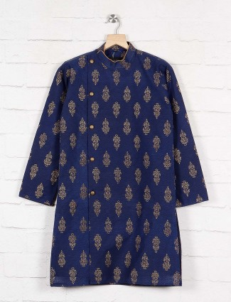 Party wear navy hue cotton kurta suit