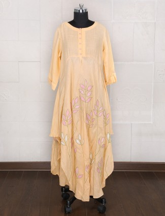 Party wear gown style dress in cotton silk fabric