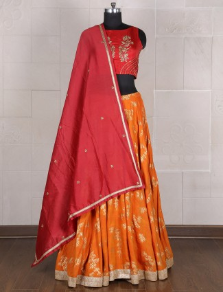 Party wear orange maroon silk lehenga choli