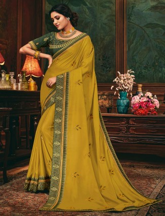 Party wear satin saree in golden color