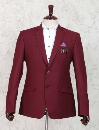 Party wear wine maroon hue blazer
