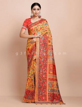 pashmina silk saree in yellow for weddings
