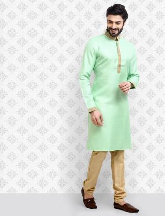Pastle green solid cotton fabric kurta suit