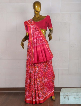 Patola designer pink hue saree in wedding