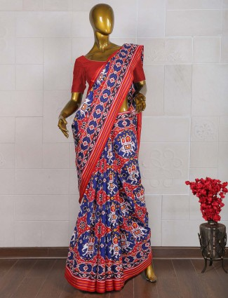 Patan patola royal blue hue saree