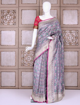 Patola pure banarasi silk saree in light grey color