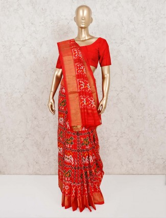 Patola silk adorable red saree in wedding