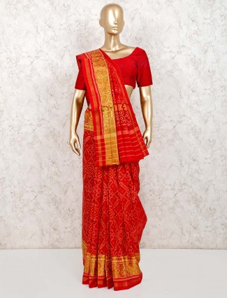 Patola silk saree in red for wedding