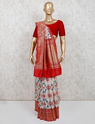 Patola silk white saree for festive