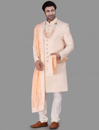 Peach achkan sherwani in silk