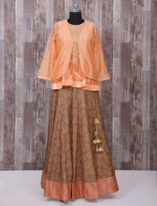 Peach and brown color indo western style lehenga choli