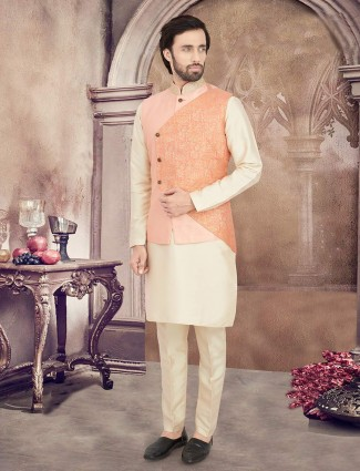 Peach and cream waistcoat set with zari touch