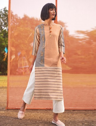 Peach and grey cotton kurti for casual occasions
