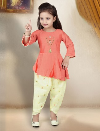 Peach and light yellow salwar suit