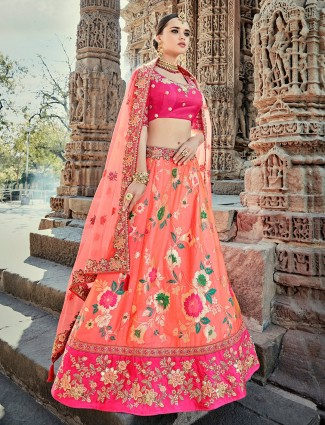 Peach and magenta silk unstitched lehenga choli