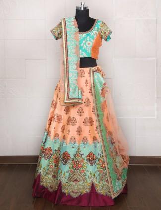 Peach and sea green color silk designer bridal wear lehenga choli