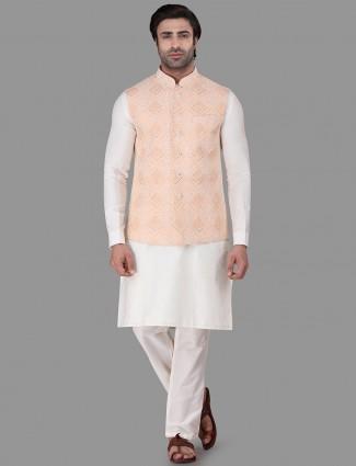 Peach and white chikan cotton silk waistcoat set