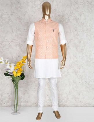 Peach and white cotton party function waistcoat set