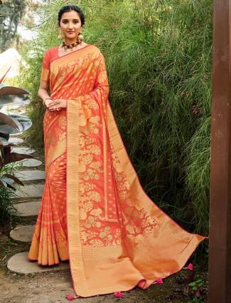 Peach banarasi silk wedding saree