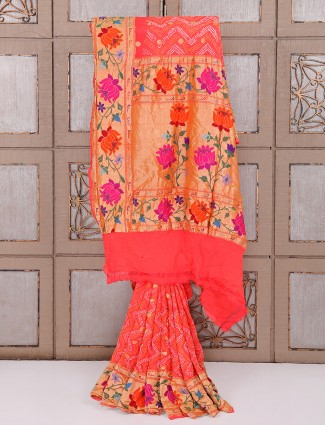 Peach bandhej fabric saree