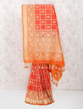 Peach color banarasi semi silk wonderful saree