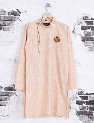 Peach color cotton kurta suit