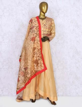 Peach color designer cotton silk festive anarkali suit