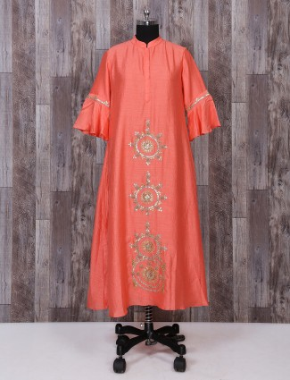 Peach color festive wear kurti