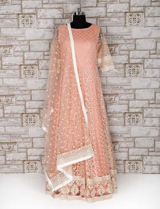 Peach color floor length wedding wear anarkali suit