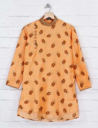 Peach color full sleeves cotton kurta suit
