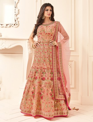 Peach color lovely anarkali suit for wedding