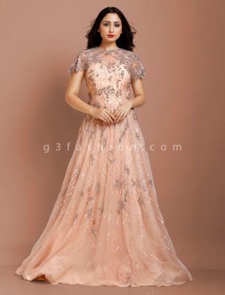 Peach color net fabric party wear lehenga choli