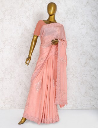 Peach color party wear saree in marble chiffon